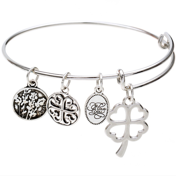 Love and Luck Charm Bangle - Ashley Jewels - 1