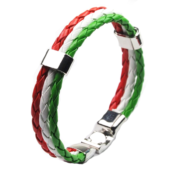 Support Italy Leather Unisex Bracelet - Ashley Jewels