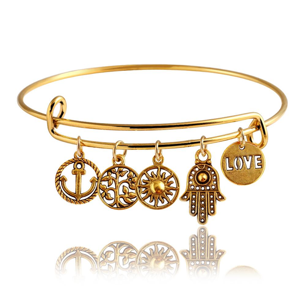 Gold Destiny Charm Bangle - Ashley Jewels