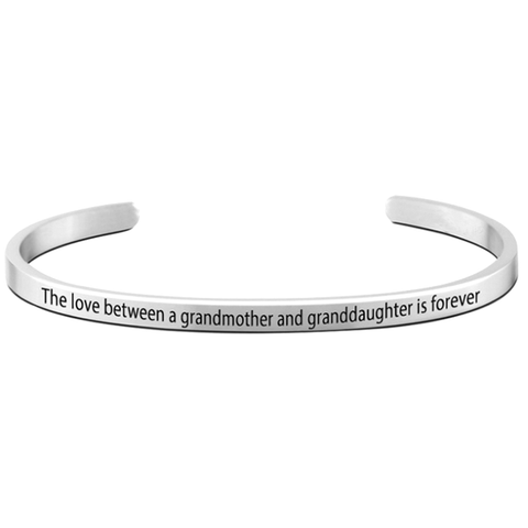The Love Between A Grandmother and Granddaughter is Forever Cuff Bangle - Ashley Jewels - 1