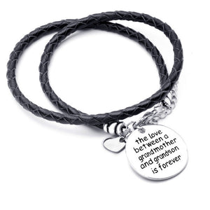 The Love Between a Grandmother and Grandson is Forever - Hand Stamped Bracelet - Ashley Jewels - 1