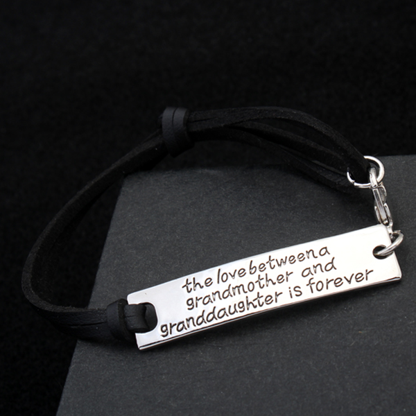 The Love Between A Grandmother and Granddaughter is Forever Leather Bracelet - Ashley Jewels - 3