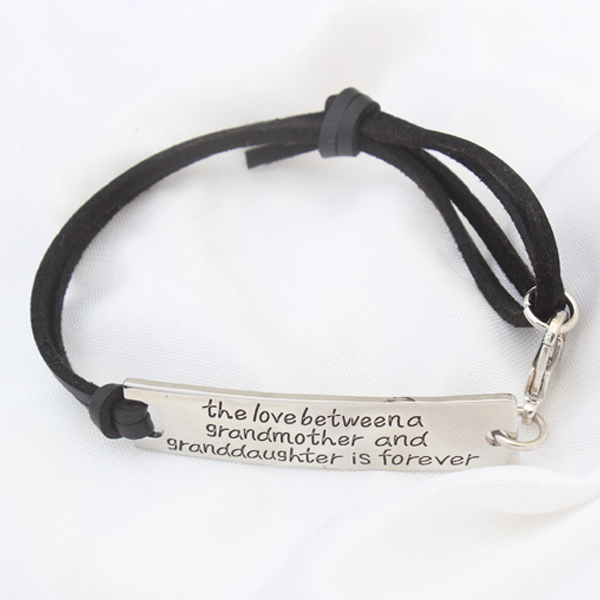 The Love Between A Grandmother and Granddaughter is Forever Leather Bracelet - Ashley Jewels - 2