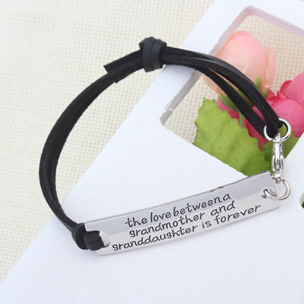 The Love Between A Grandmother and Granddaughter is Forever Leather Bracelet - Ashley Jewels - 4
