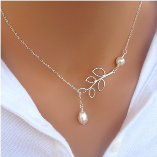 Leaf Pearl Necklace - Ashley Jewels - 1
