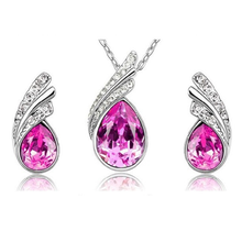Angel Tear Drop Austrian Crystal Pendant & Earring Set - Ashley Jewels - 2