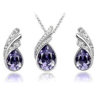 Angel Tear Drop Austrian Crystal Pendant & Earring Set - Ashley Jewels - 3