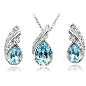 Angel Tear Drop Austrian Crystal Pendant & Earring Set - Ashley Jewels - 5