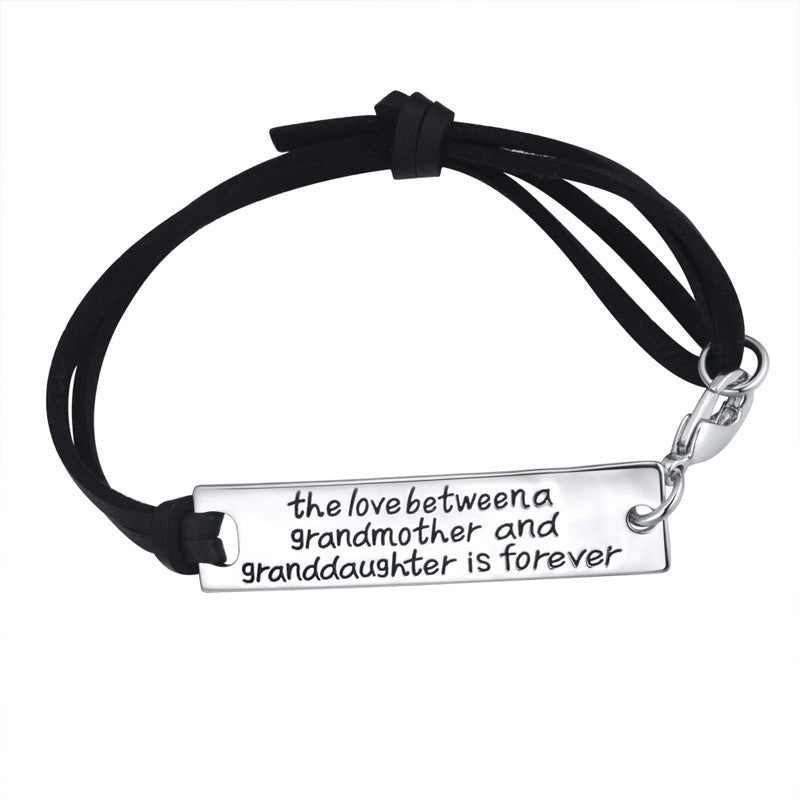 The Love Between A Grandmother and Granddaughter is Forever Leather Bracelet - Ashley Jewels - 1