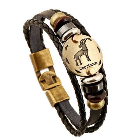 Zodiac Signs brown Gallstone Leather Bracelet - Ashley Jewels - 11
