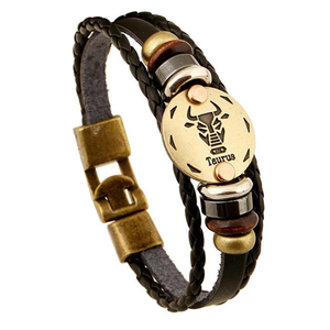 Zodiac Signs brown Gallstone Leather Bracelet - Ashley Jewels - 1