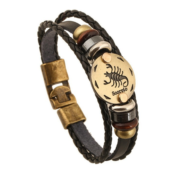 Zodiac Signs brown Gallstone Leather Bracelet - Ashley Jewels - 3