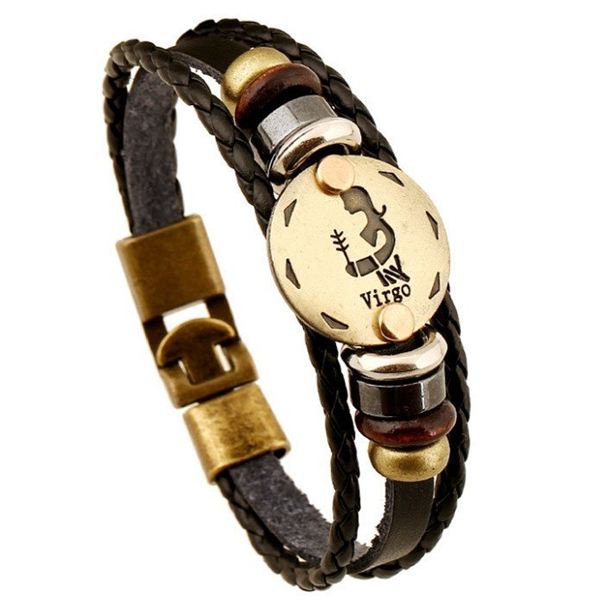 Zodiac Signs brown Gallstone Leather Bracelet - Ashley Jewels - 5