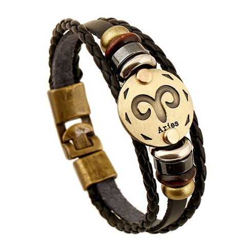 Zodiac Signs brown Gallstone Leather Bracelet - Ashley Jewels - 9