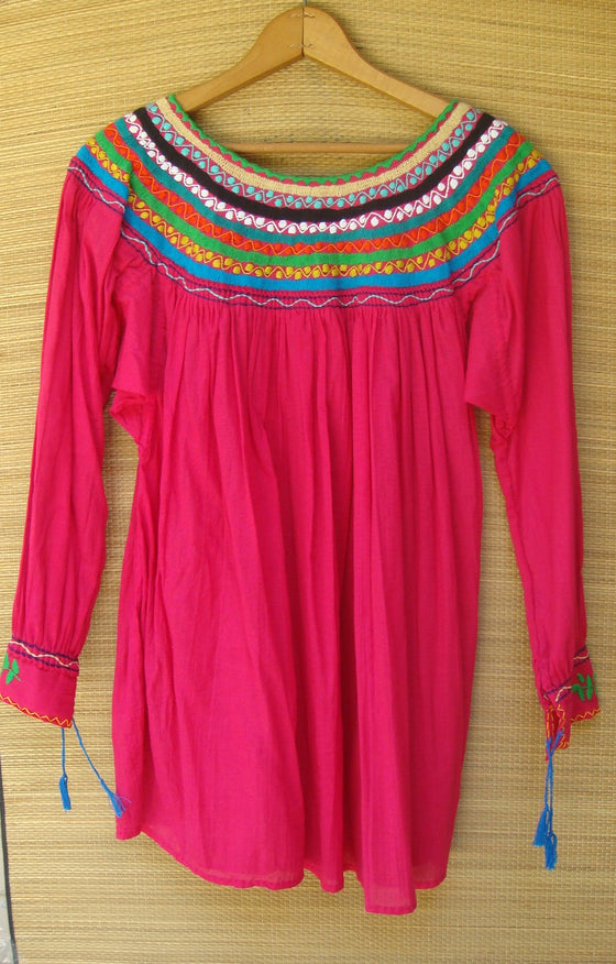 Mexican Blouse Huipil Pink Multicolor Embroidered Flowers Small/Medium
