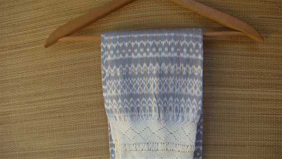 Mexican Handwoven Light Brown and White Rebozo Shawl Wrap Scarf Runner From Tenancingo