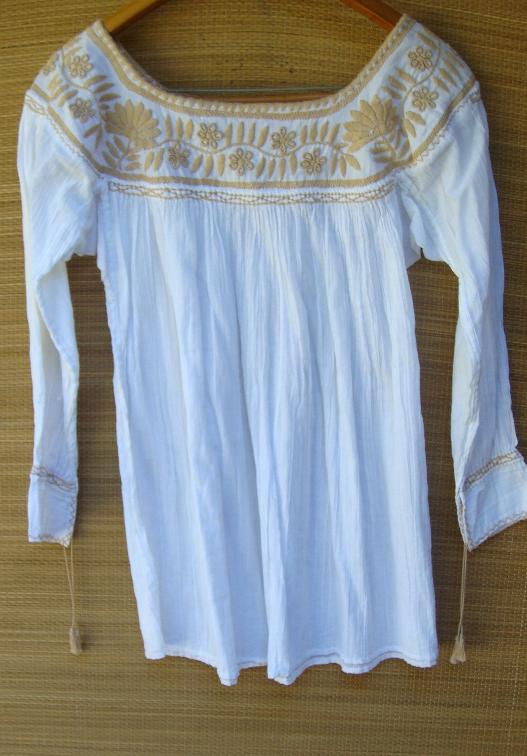 Mexican White with Beige Flowers Peasant Blouse Huipil Hand Embroidery Small