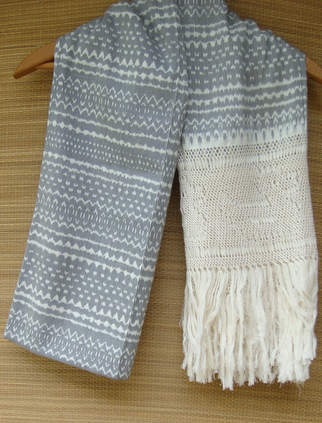 Classic Rebozo Shawl From Tenancingo Mexico with Aztec Ikat Pattern