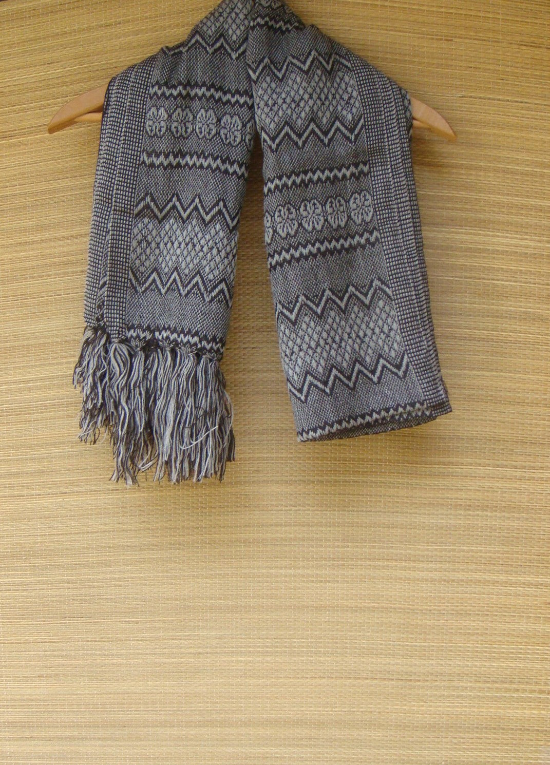 Brown Black Cream Rebozo Shawl with Geometric Pattern from Mexico