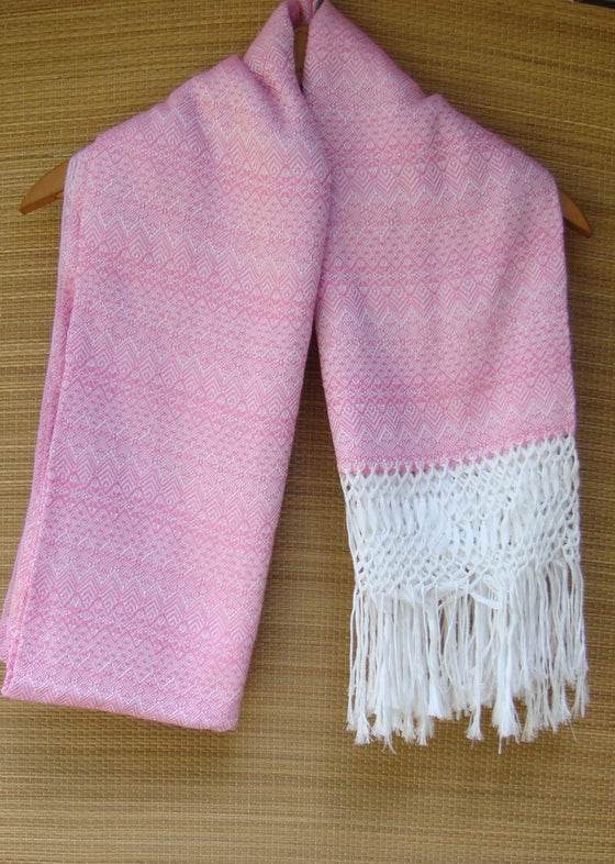 Pink with White Rebozo Shawl with Fringes Embroidered Cotton