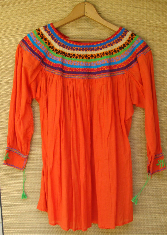 Mexican Blouse Huipil Orange with Beige Embroidery Small/Medium