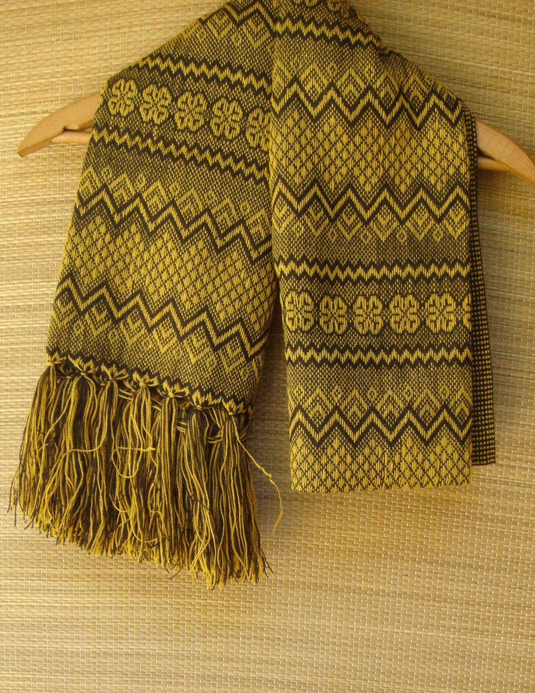 Mexican Golden Rebozo Shawl Yarn Geometric Woven