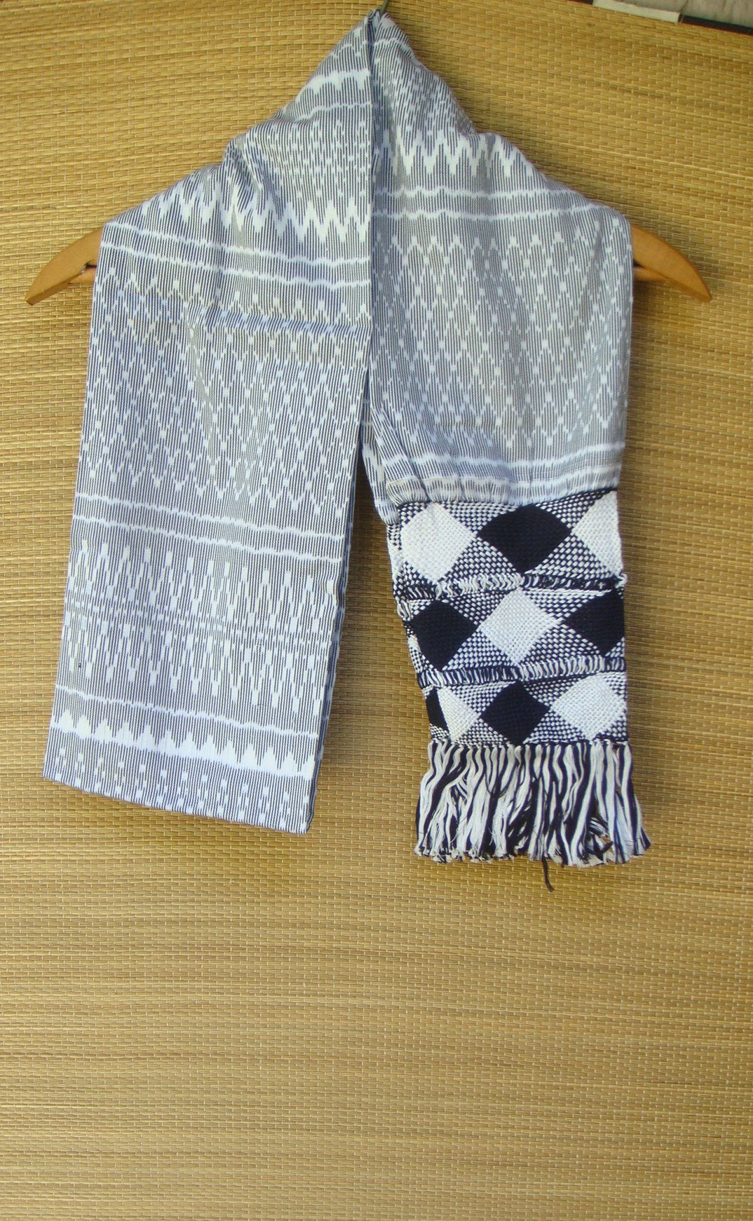 Mexican Handwoven Cream with Black Rebozo Shawl Wrap Scarf Runner From Tenancingo