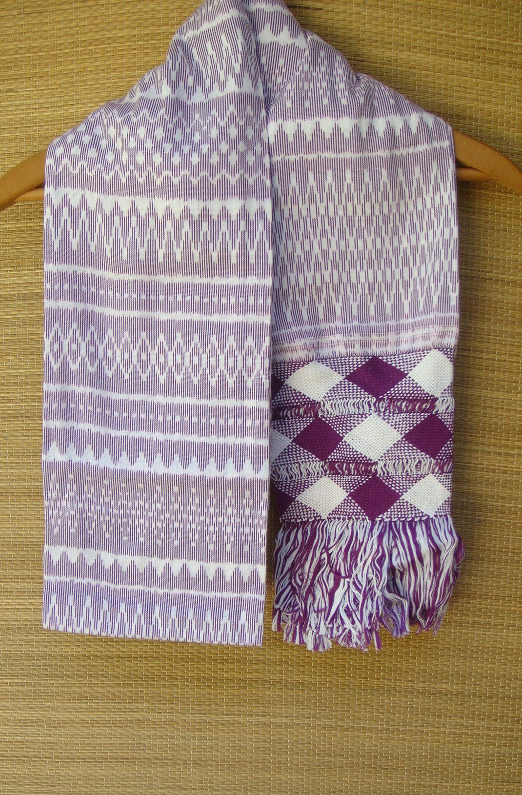Mexican Handwoven Purple with Cream Rebozo Shawl Wrap Scarf Runner From Tenancingo