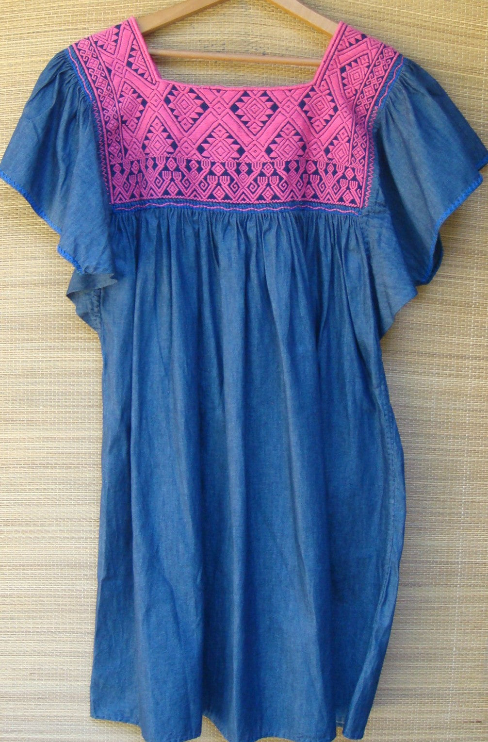 Mexican Dark Blue Manta with Pink Huipil Blouse Peasant Embroidered Medium/Large