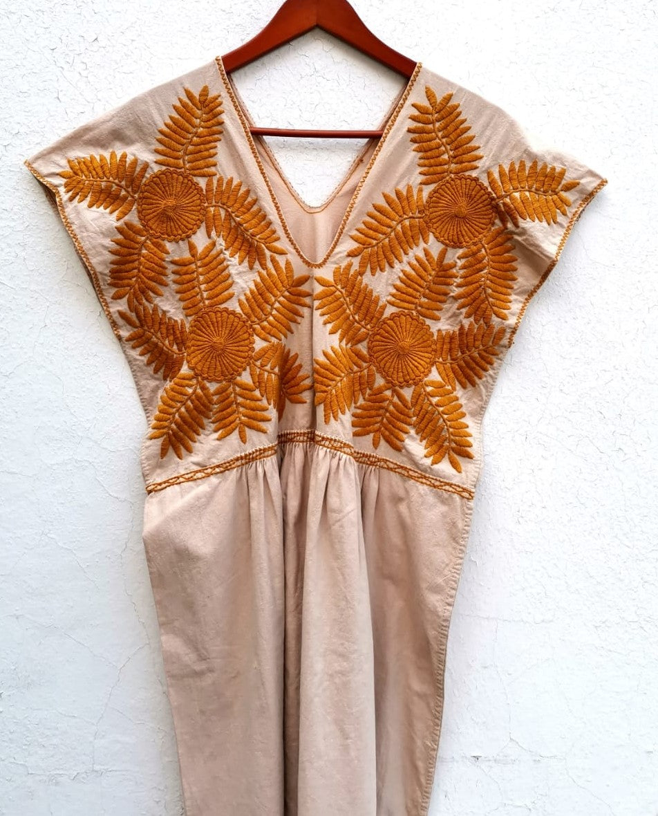 Mexican Dress Frida Kahlo Style Beige with Golden Brown Flowers Embroidered M/L