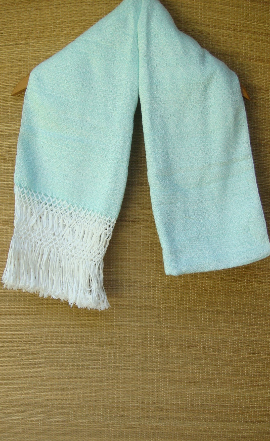 Blue Green and White Mexican Rebozo Shawl with Fringes Embroidered with Cotton and Yarn