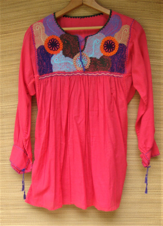 Mexican Blouse Huipil Red Multicolor Embroidered Flowers X- Small