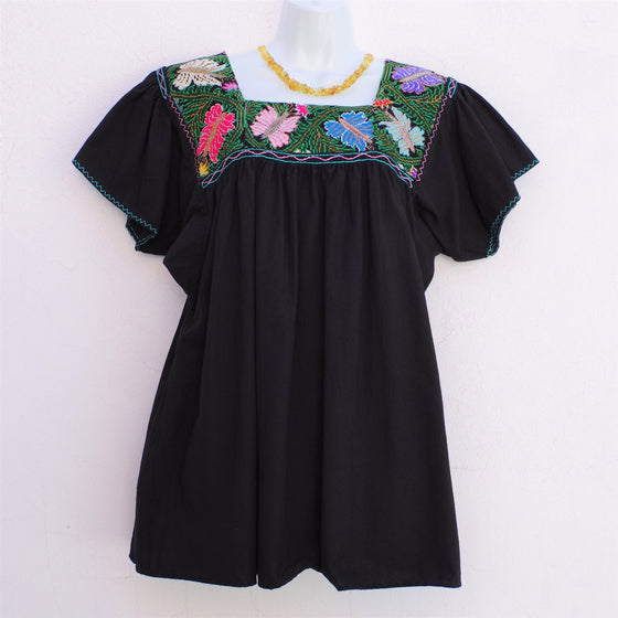 Black Mexican Huipil Vintage Blouse with Multi color Hand Embroidery from Chiapas Medium/Large