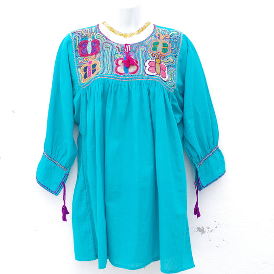 Aqua Mexican Huipil V-neck Tie Blouse with Multi color Hand Embroidery from Chiapas M Size