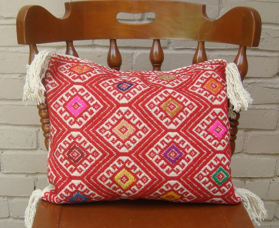 Red with Cream Geometric Cushion Cover Woven Woolen Cotton Mayan Mexican Chiapas
