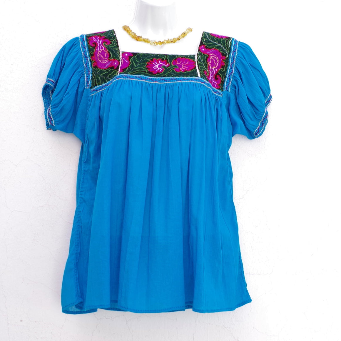 Blue Mexican Huipil Vintage Blouse with Dark Green and Purple Hand Embroidery from Chiapas M Size