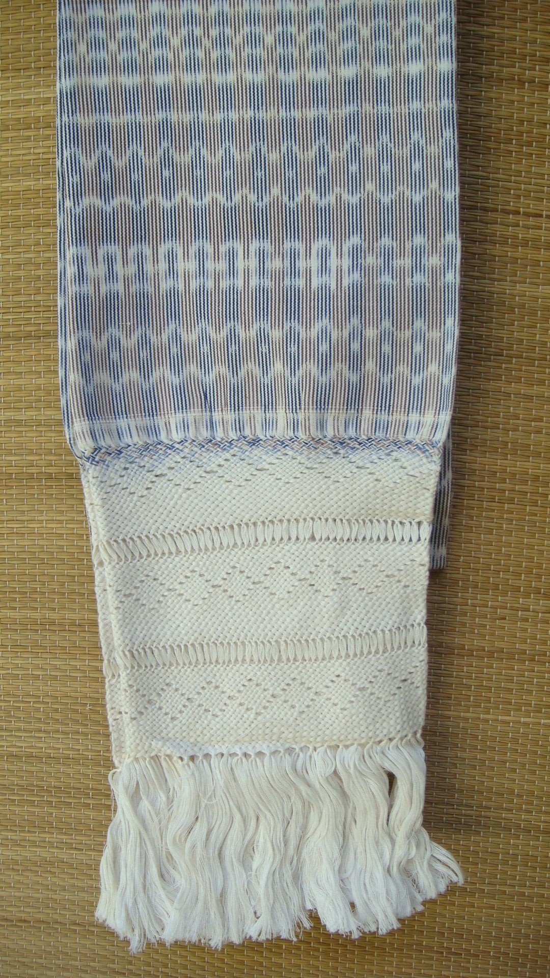 Mexican Handwoven Brown with Cream Rebozo Shawl Wrap Scarf Runner From Tenancingo