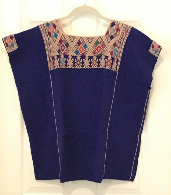 Mexican Women's Blouse Ethnic Tunic Huipil Handwoven with Mayan Design L/XL/XXL