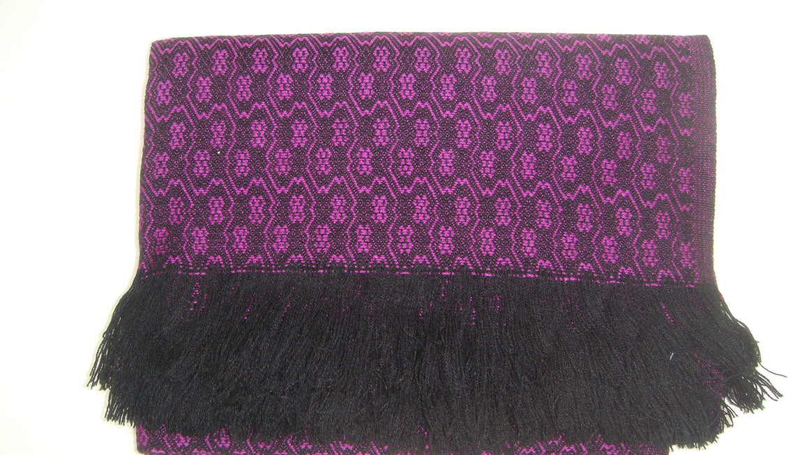 Pink Black Rebozo Shawl from Mexico