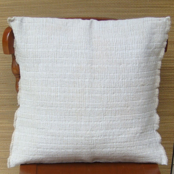 Cream Cushion Cover Sham Pillow Woolen Cotton Mayan Mexican Chiapas