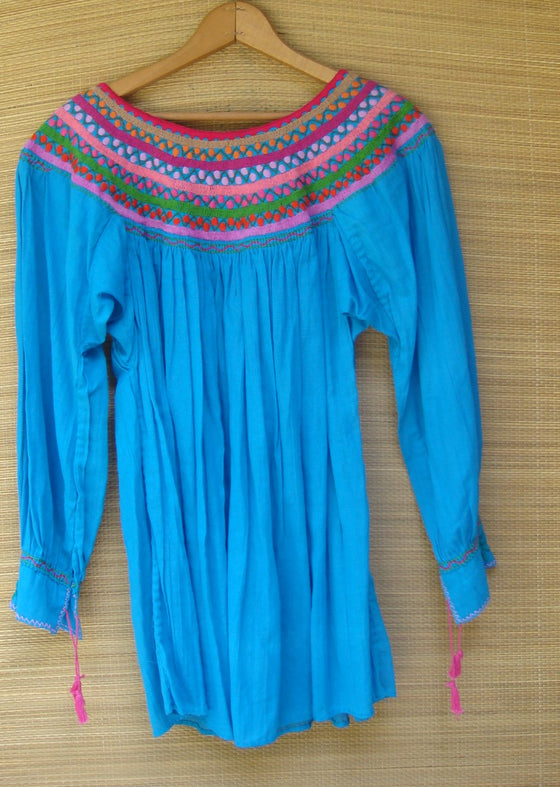 Mexican Blouse Huipil Blue Multicolor Embroidered Flowers X- Small/Small