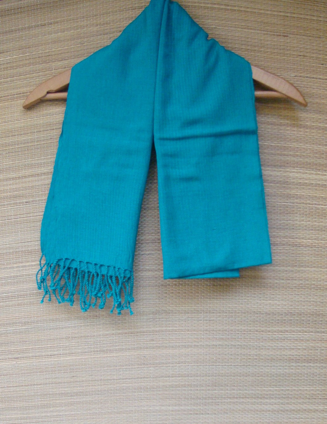 Blue Green Rebozo Shawl Wrap Handwoven Cotton from Mexico