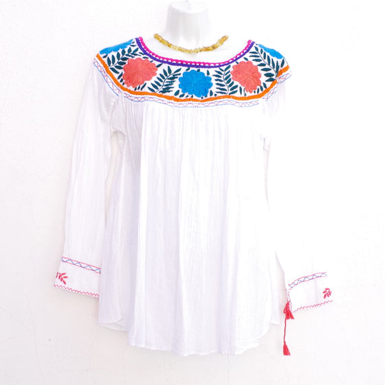 White Mexican Huipil Round Neck Blouse with Multi color  Flower Hand Embroidery from Chiapas M Size