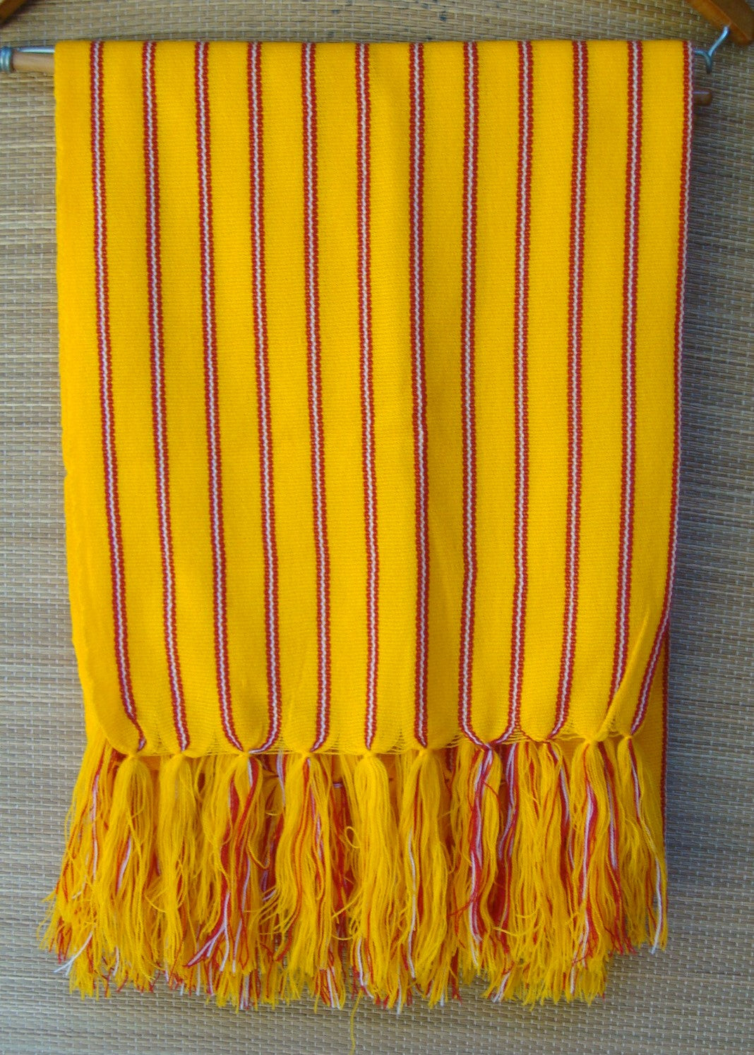 Mexican Yellow with Red Rebozo Wrap Shawl Yarn Woven