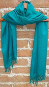 Blue Green Rebozo Shawl from Mexico Handwoven Cotton