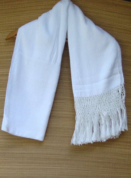 White Rebozo Shawl with Fringes Embroidered Cotton