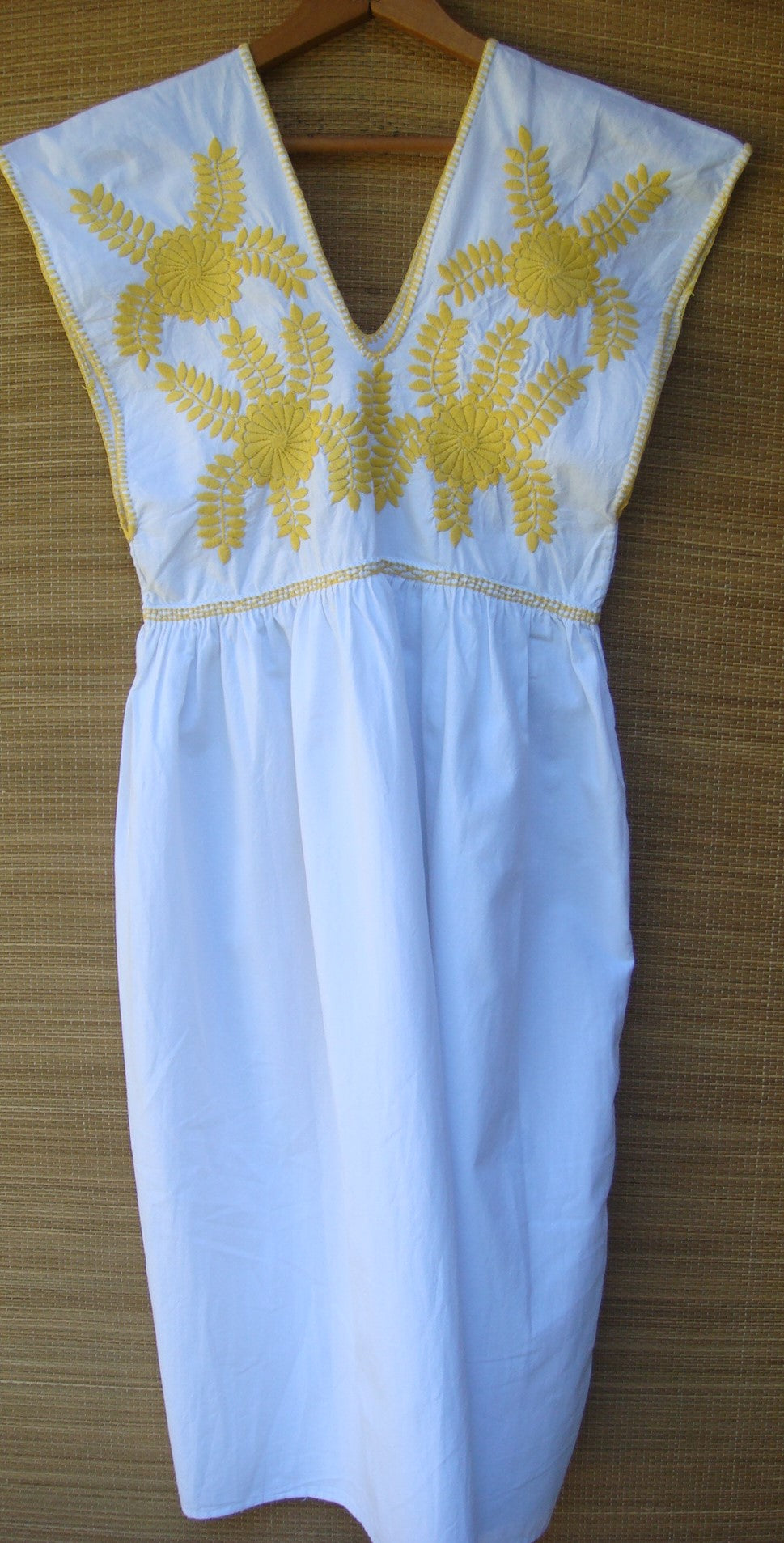 Mexican Mini Dress Frida Kahlo Style White with Yellow Flowers Embroidered X-Small