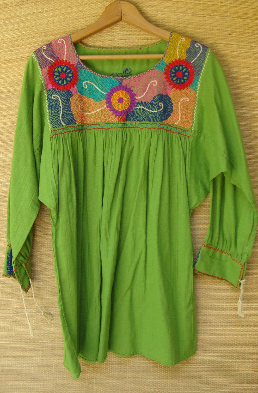 Olive Green Mexican Blouse Huipil Multicolor Embroidered Flowers Small/Medium
