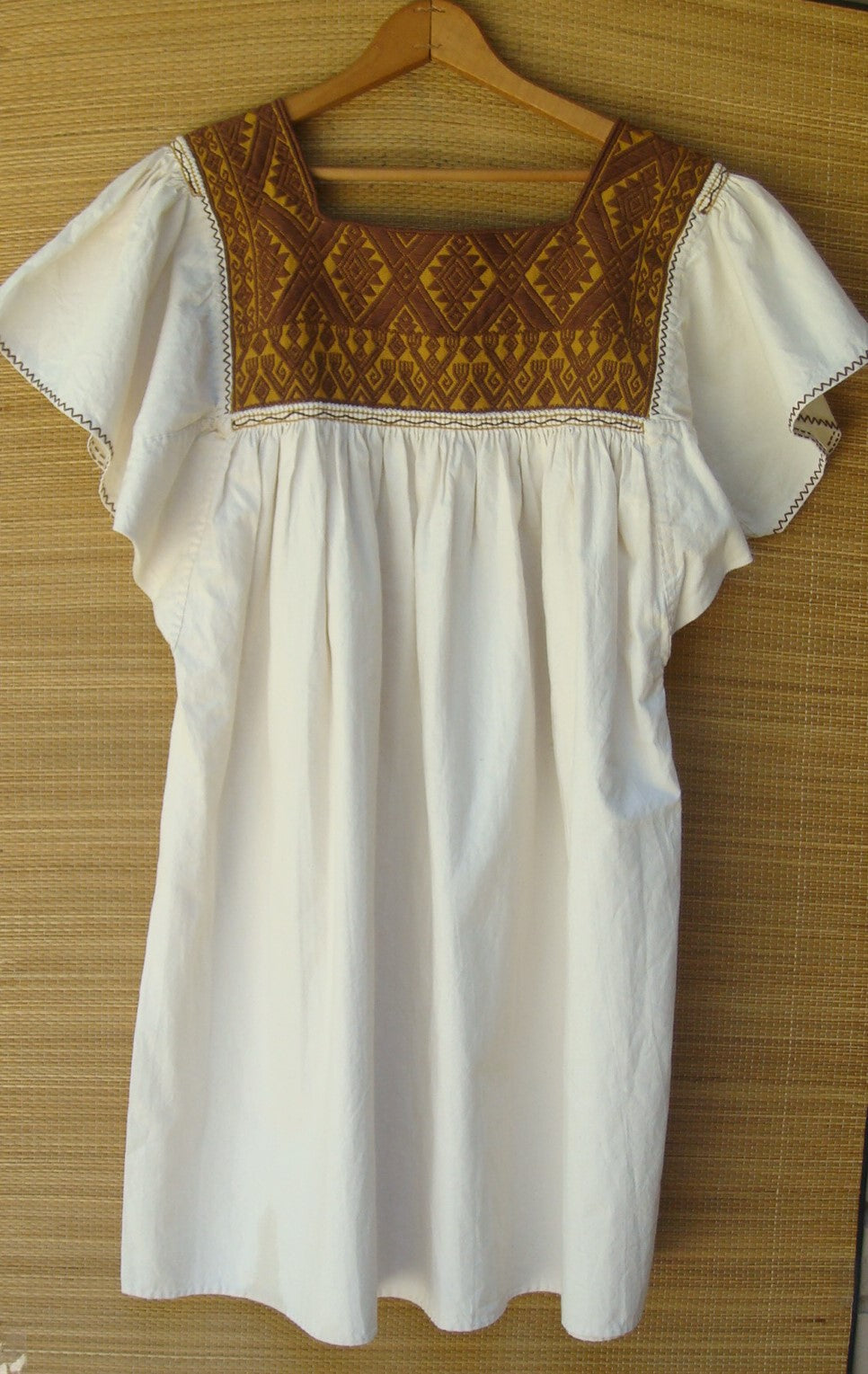 Mexican Cream Manta with Brown Huipil Blouse Peasant Embroidered Medium