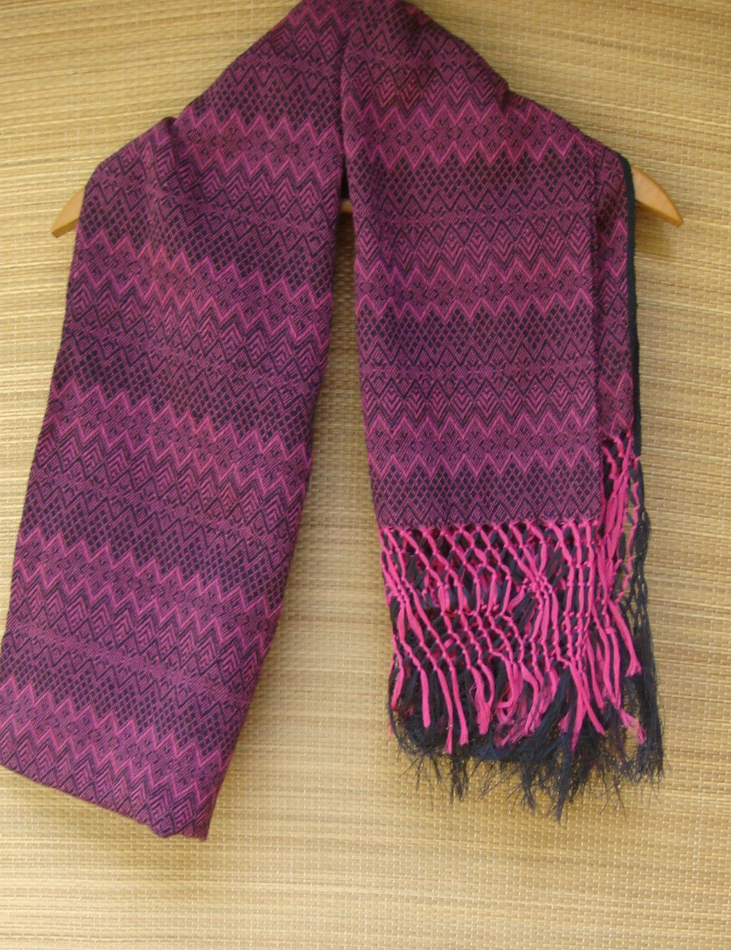 Black with Pink Rebozo Shawl with Fringes Embroidered Cotton